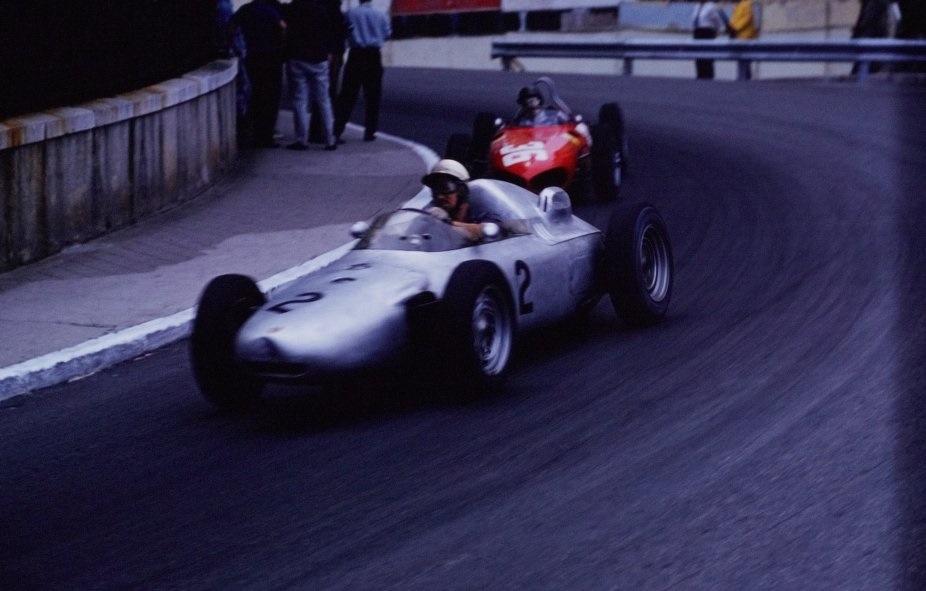 Йо Бонье (#2, Porsche 787) на Гран При Монако '61