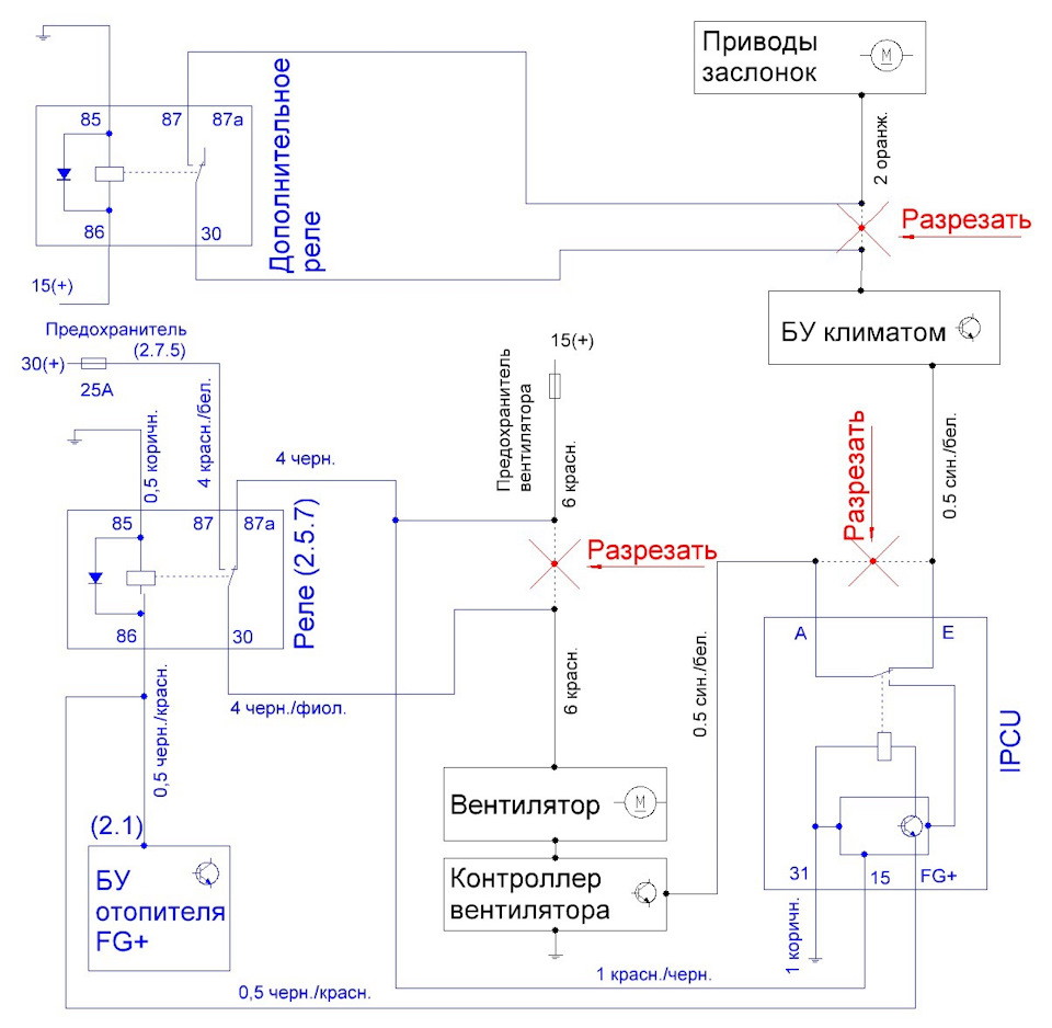 Электрическая схема управления климат-контролем и вентиляции при установке предпускового подогревателя Eberspacher Hydronic / Эберспехер / Эбершпехер Гидроник B4WS