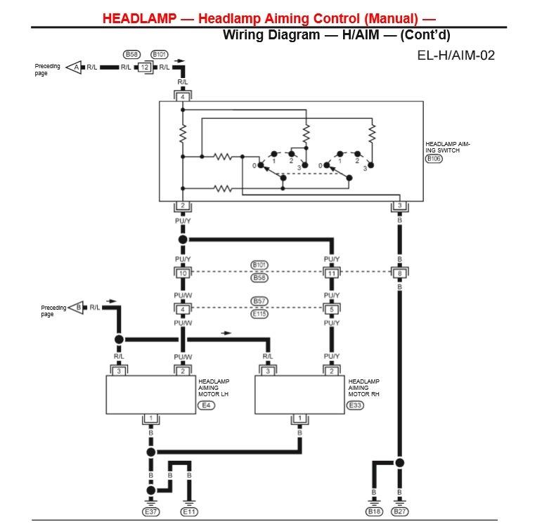 Электрокорректор фар — Nissan Largo, 2.7 л., on