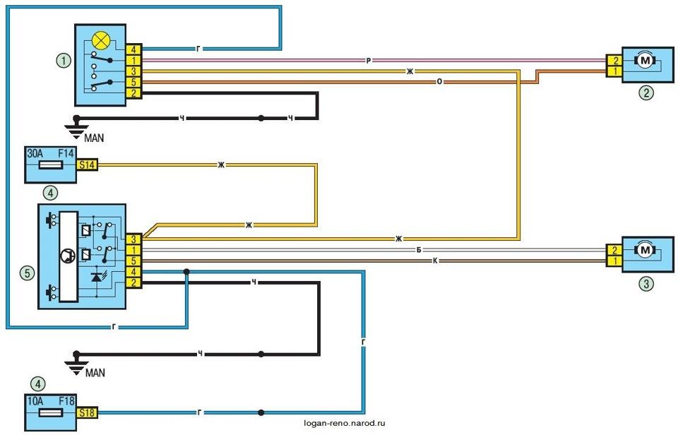 Схема подключения Renault