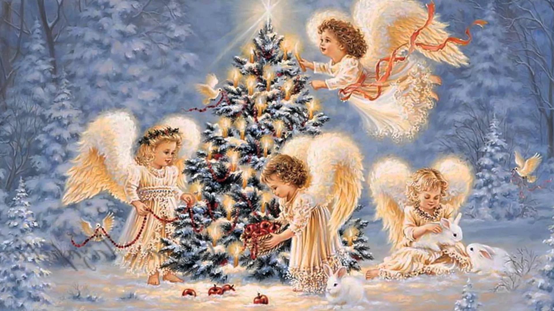 Открытка с рождественскими ангелами