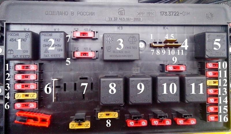 Схема блока предохранителей на ваз 21154