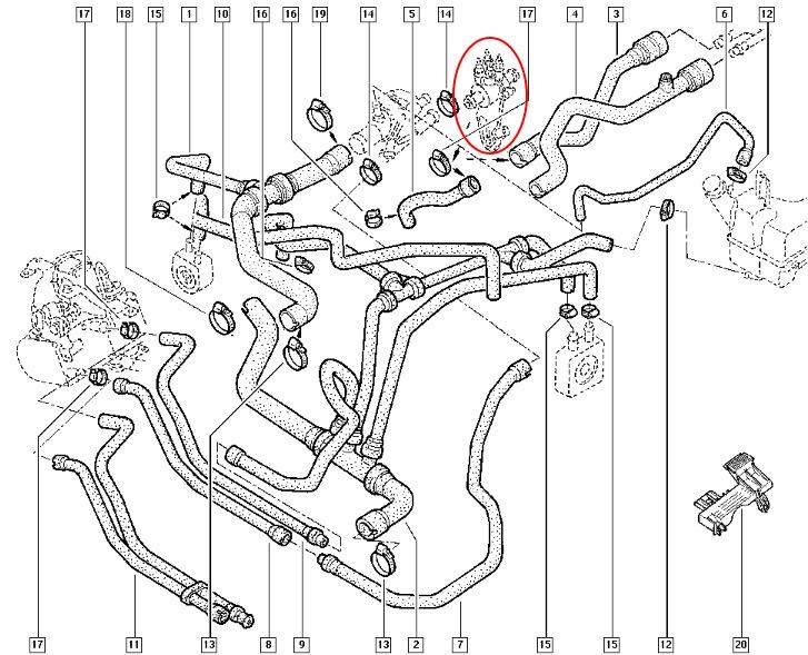 схема охлаждения двигателя 1.9