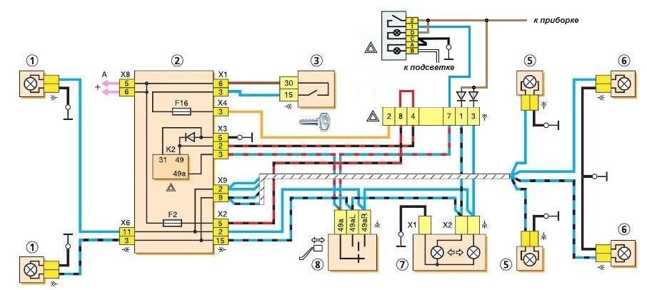 схема поворотника на ваз 2114