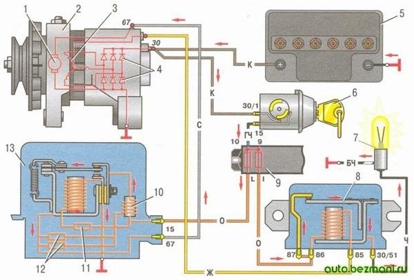 Ваз 2106 схема подключения генератора