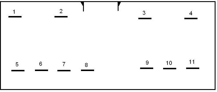 1,2 — на передний правый мотор