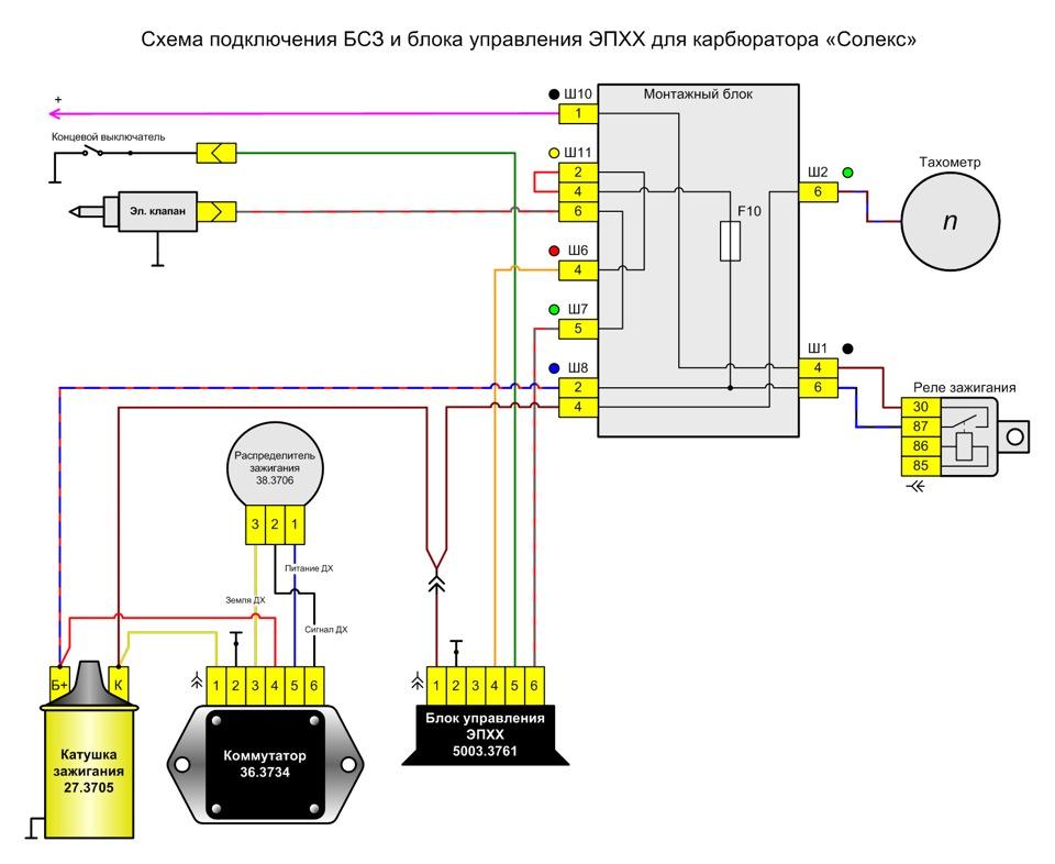 Схема подключения БСЗ и блока