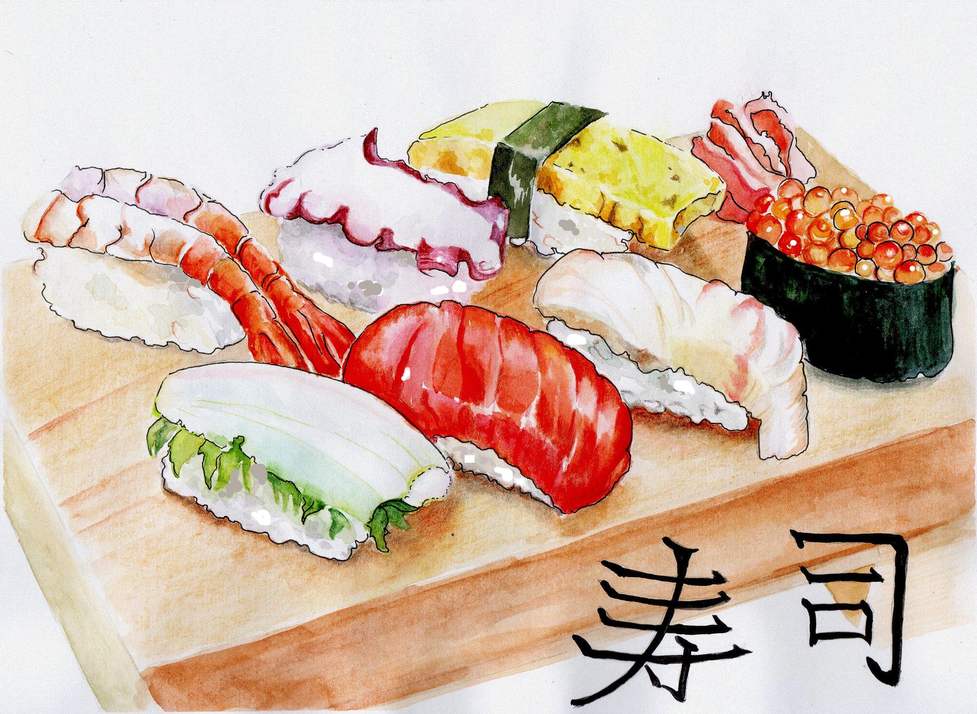суши рисунки красками старший