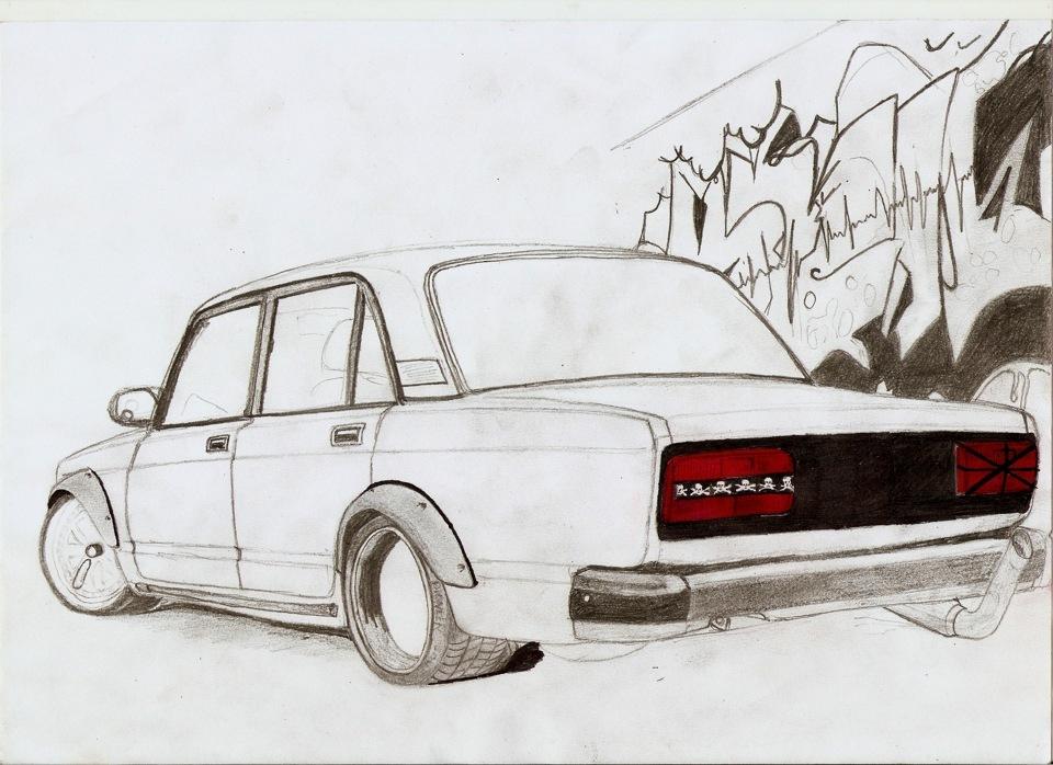 Рисунки карандашом машины ваз все