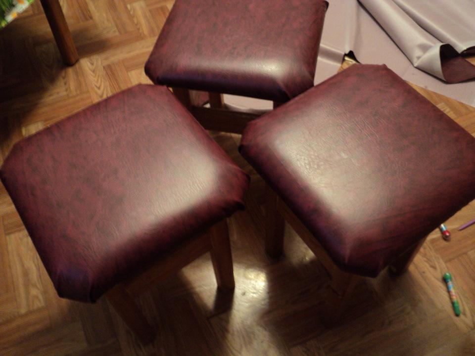 Перетяжка барных стульев кожей своими руками 57