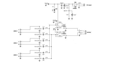 Схема стерео микшера