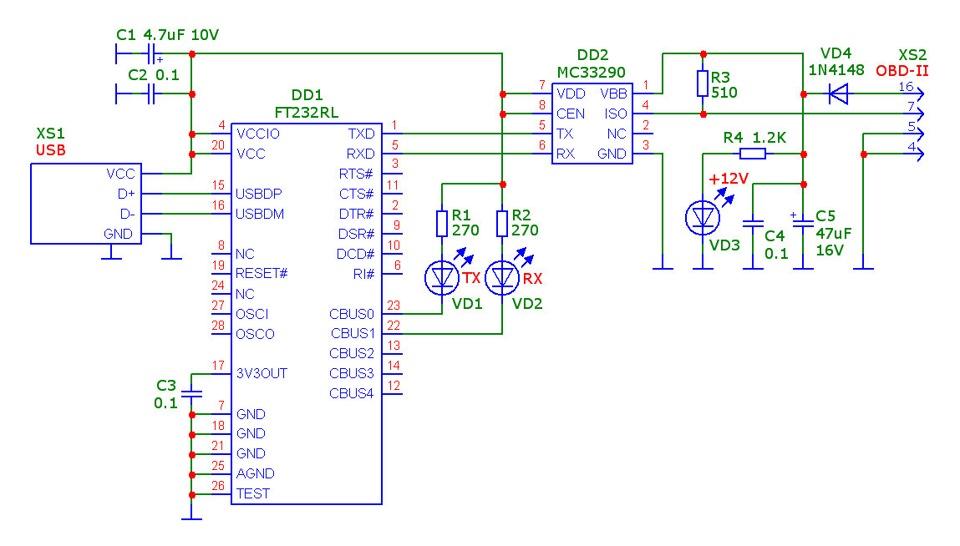 K-Line адаптер на MC33290