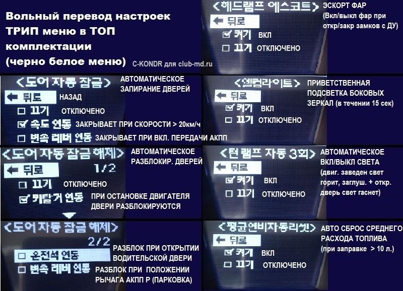 hyundai avante trip меню перевод