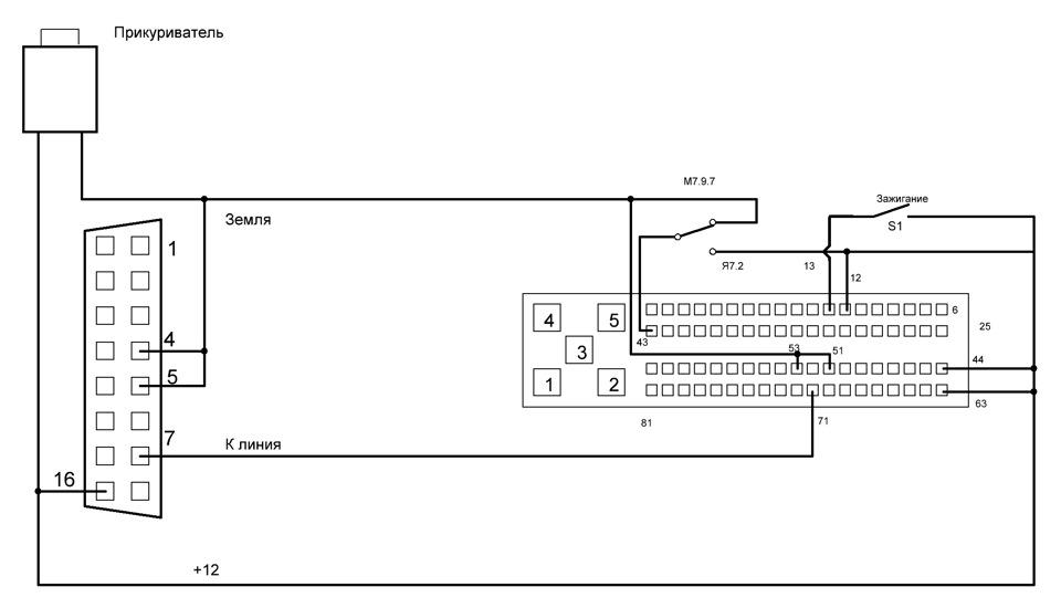Схема разъема для Я7.2,