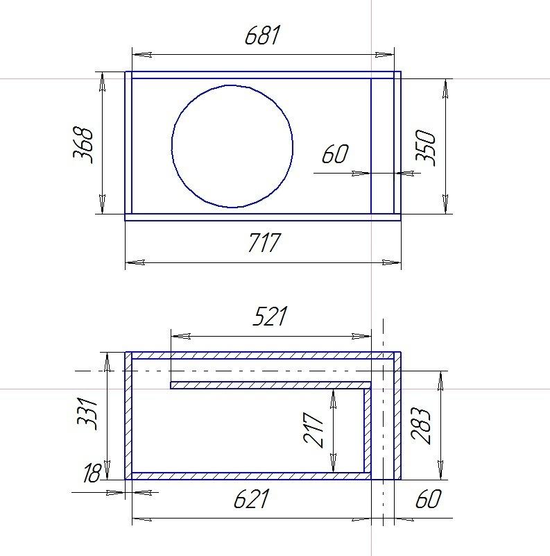 Как сделать коробку для сабвуфера с чертежами 27