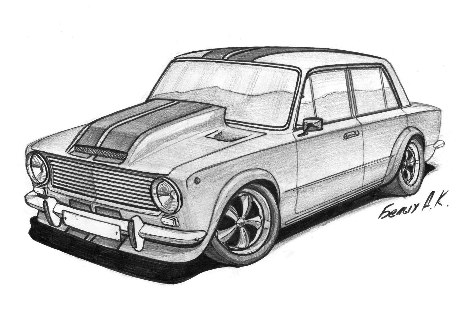 Картинки карандашом наши русские машины