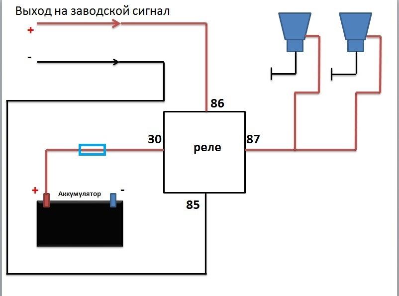 Схема воздушного сигнала через реле 841