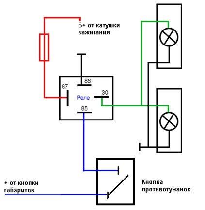 4 х контактное реле схема подключения птф