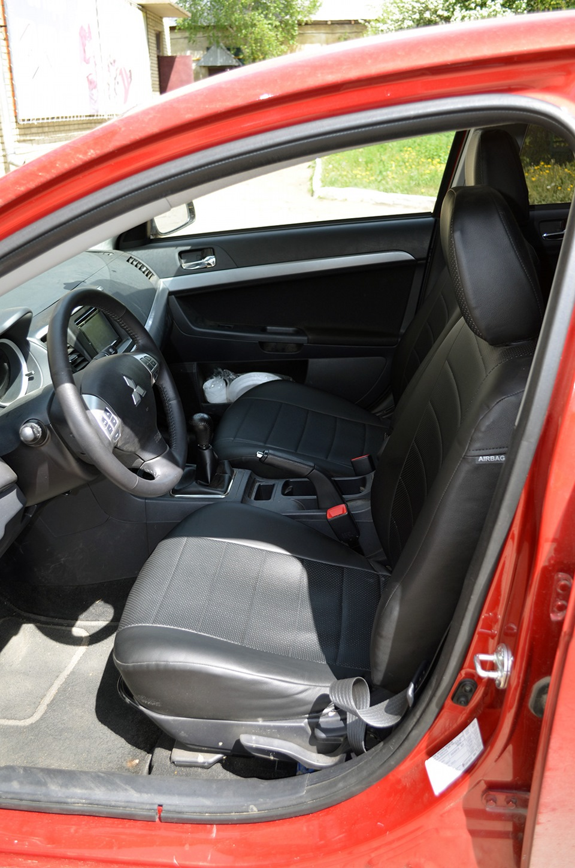 Чехлы экокожа для Mitsubishi Lancer X Митсубиси