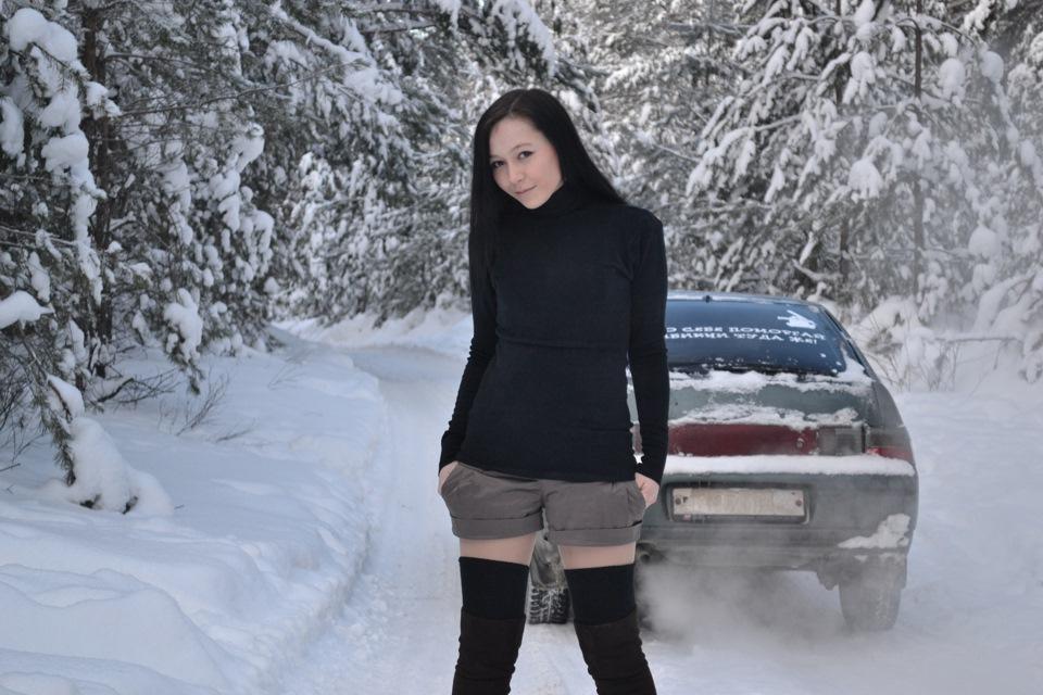 брюнетки  зимой