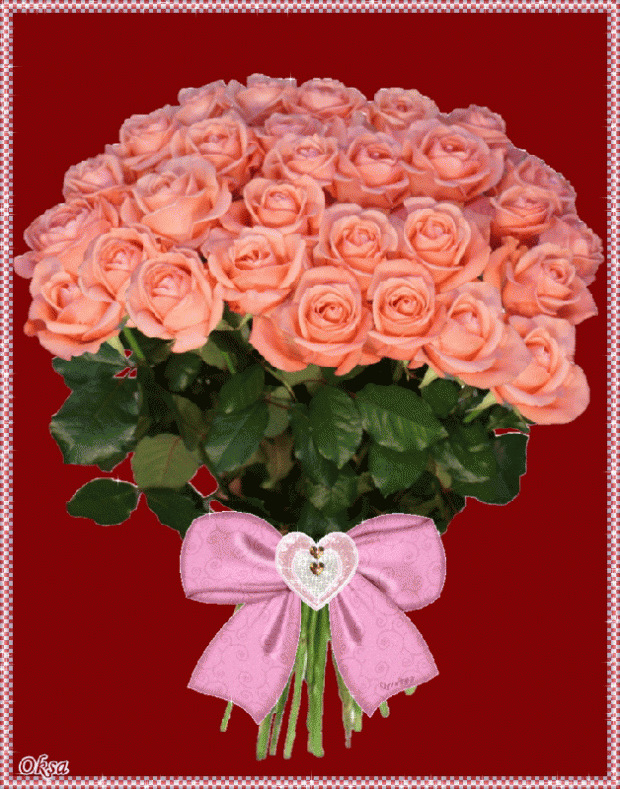 Открытки с днем рождения розы букеты анимация