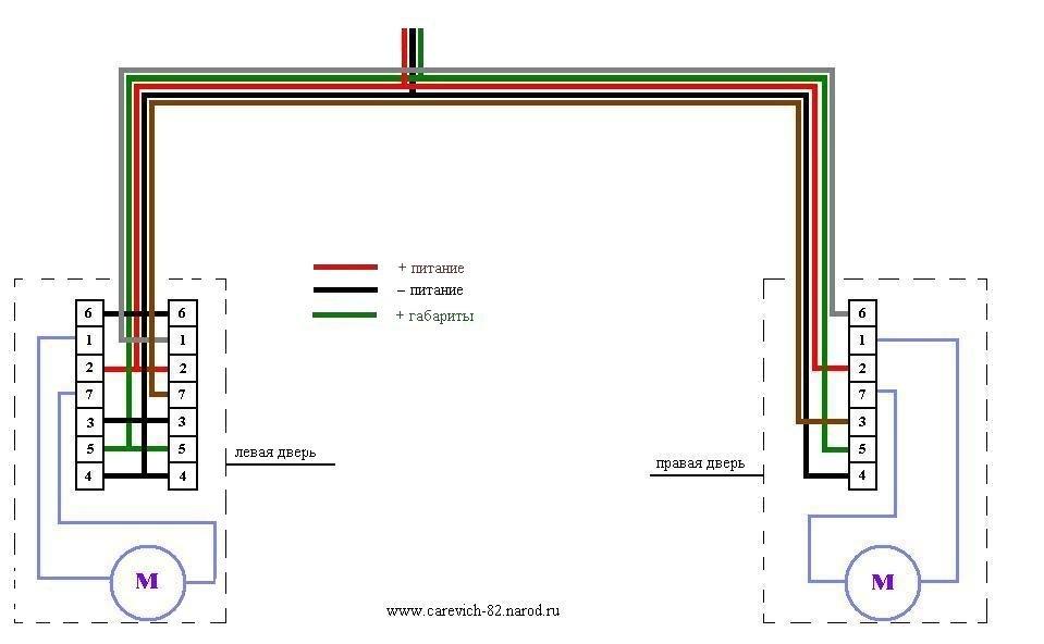 Подключение электростеклоподъемников передних дверей с дублирующей кнопкой (кнопки расположены в дверях) .