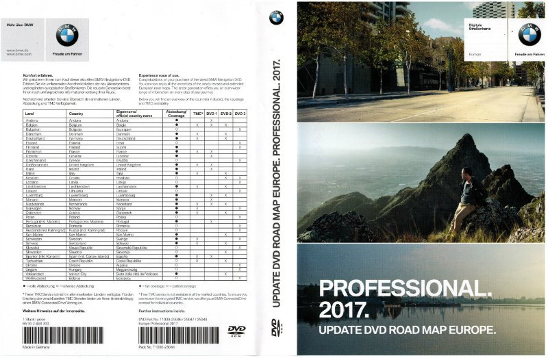 bmw update dvd road map europe 2017 professional for ccc. Black Bedroom Furniture Sets. Home Design Ideas