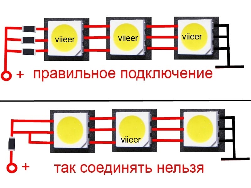 правильно светодиоды между