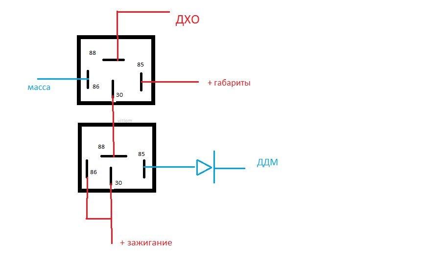 Схема включения ДХО от ДДМ