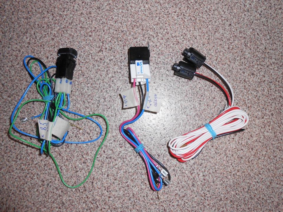 провода, кнопка и реле из