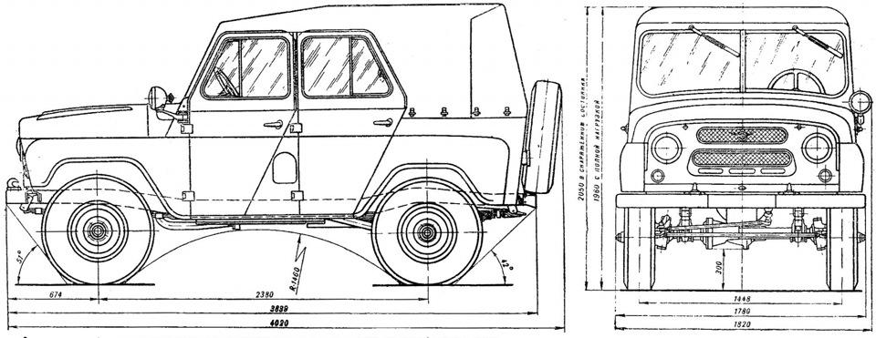 Чертеж УАЗ-469