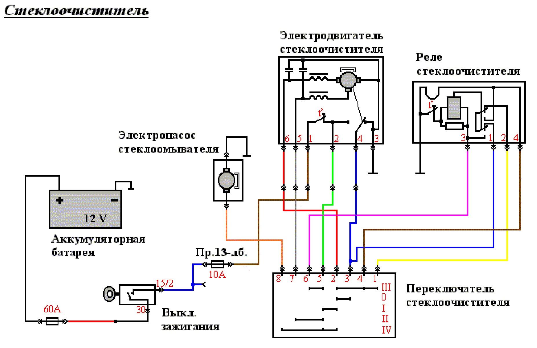 Схема стеклоочистителя газ 2410
