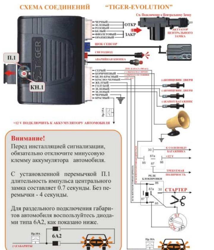 схема подключения сигнализации дачник