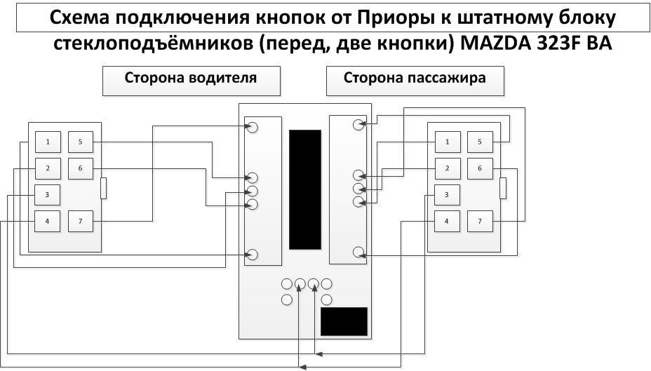 схема подключения стеклоподъемников на mazda 323 f ba
