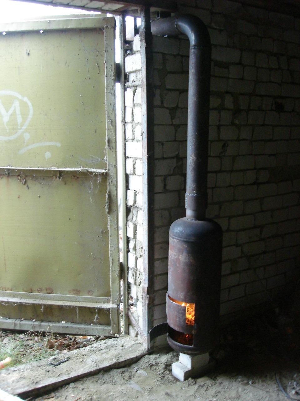 Как сделать буржуйку в гараже из газового баллона