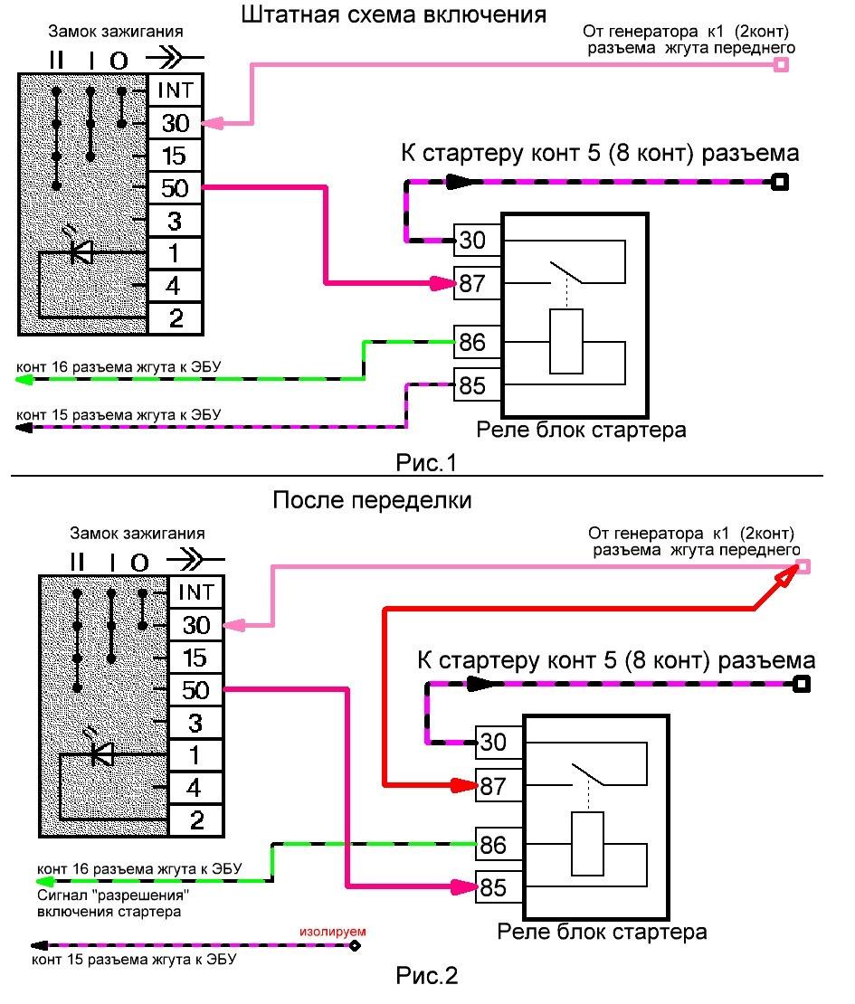 схема подключение контактной группы на ваз 2106