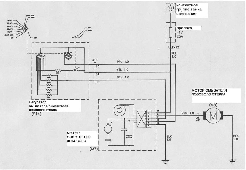 электрическая схема лобового стекла