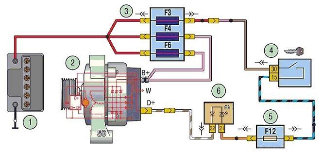 1 – аккумуляторная батарея