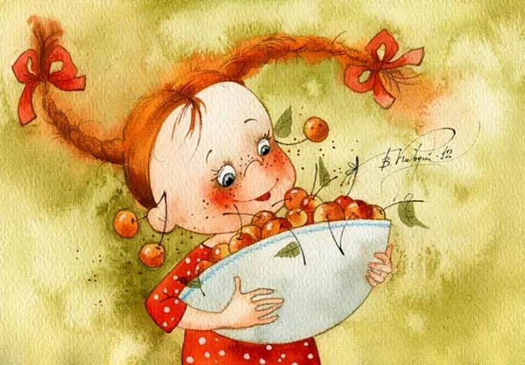 Веселая девочка открытка