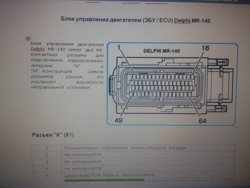 разъемов ЭБУ Delphi MR140