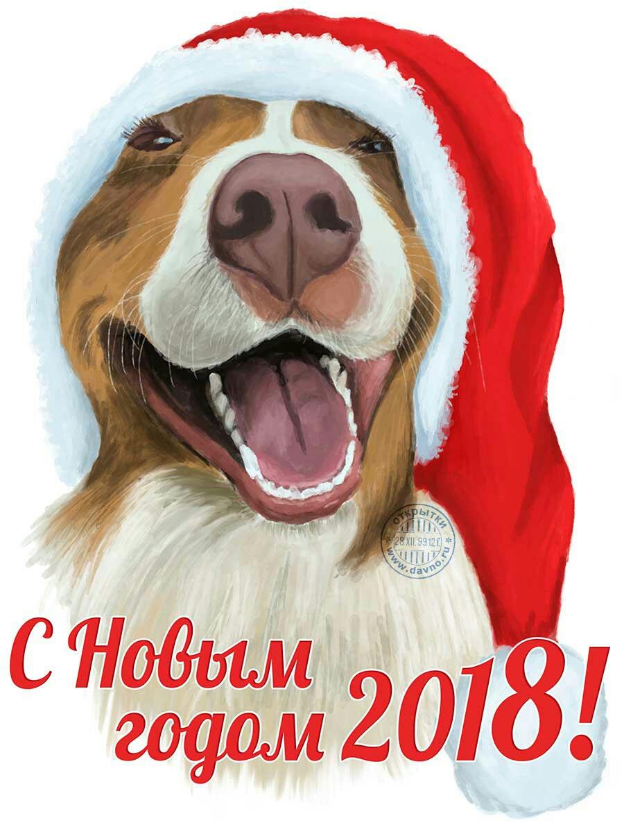 Открытки в новым годом 2018, открытка днем