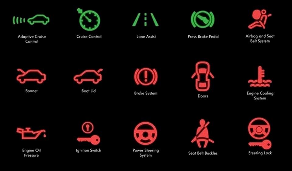 обозначение значков на приборной панели: