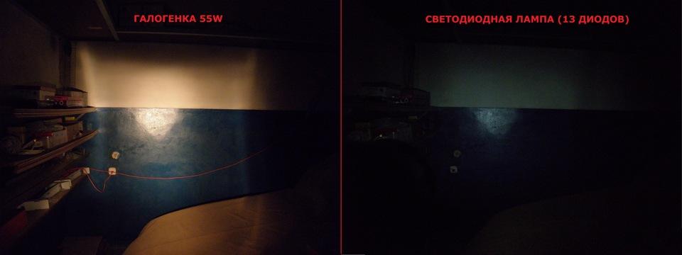 сравнение светодиодной лампы 13 диодов H3 с галогенкой H3 55w