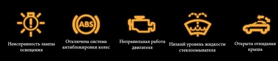 расшифровка значков на приборной панели: