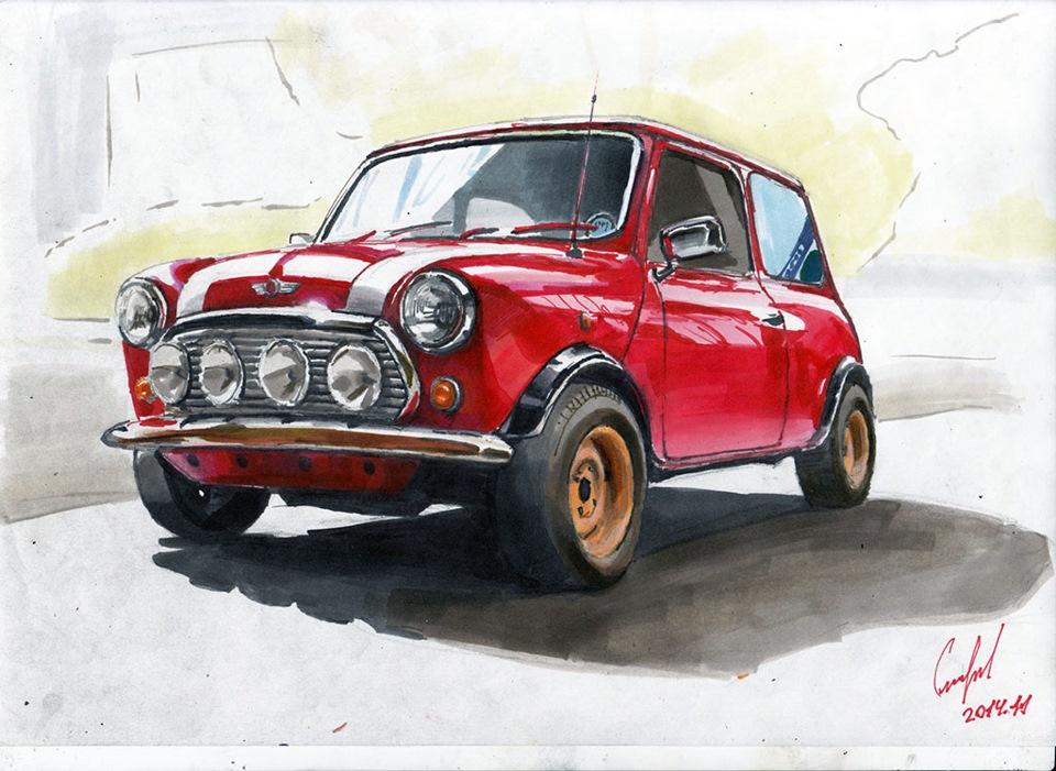 Картинки мини купера машины не цветные нарисованные