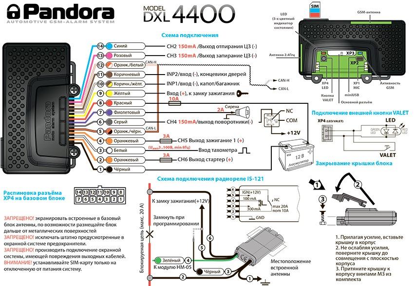 Схема монтажа Pandora DXL 4400