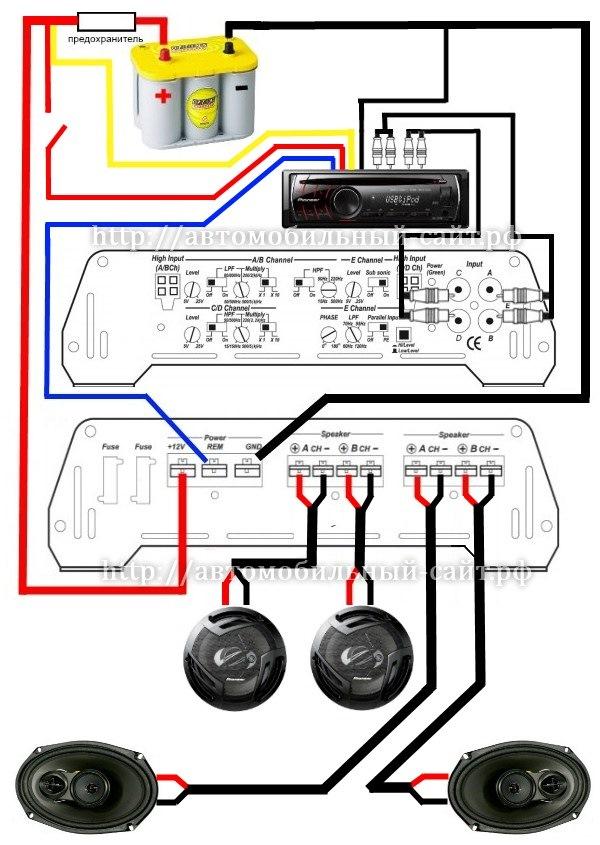 Схема подключения подключение усилителя к колонкам
