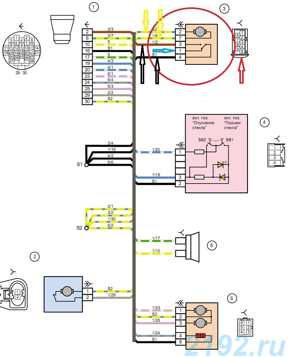 Схема на блок управления стеклоподъемниками на калину