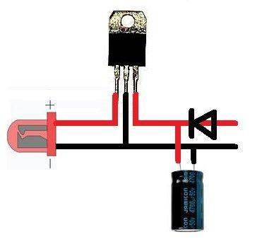 Все, что понадобилось на каждую фару: - Конденсатор 4700 мкФ 25 В - Диод 1N5395 - Стабилизатор L7812CV Подробная...