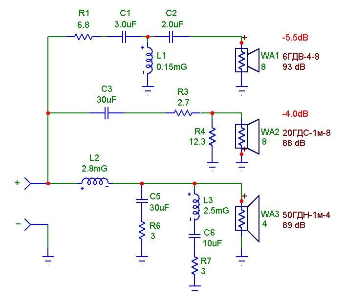Схема фильтра низких частот
